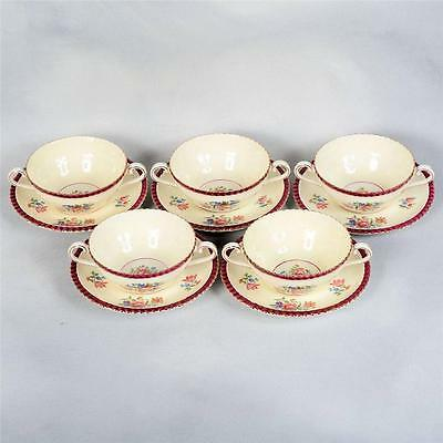 SET OF 5 AYNSLEY PATTERN #7752 CREAM SOUPS & UNDER PLATES - C.1930'S