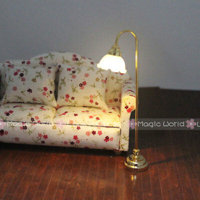 Floor Standard Lamp Reading Light w/ Switch 3V Battery Dollhouse Miniature 1:12