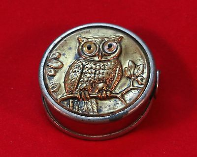 Vintage Metal Owl Tape Measure with Glass Eyes Made in Germany SI 038