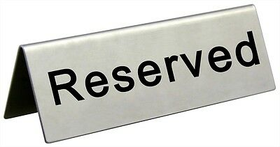 Reserved Table Sign Stainless Steel Restaurant Wedding Banquet Dining NEW!