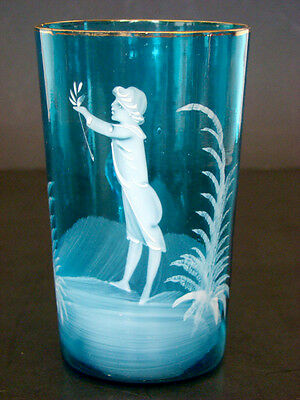 1800's ANTIQUE Vintage MARY GREGORY YOUNG BOY Victorian BLUE BOHEMIAN GLASS Mug