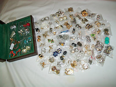 LOT OF 80 PAIRS OFASSORTED CLIP EARRINGS / SCREW ON EARRINGS, WOODEN JEWELRY BOX
