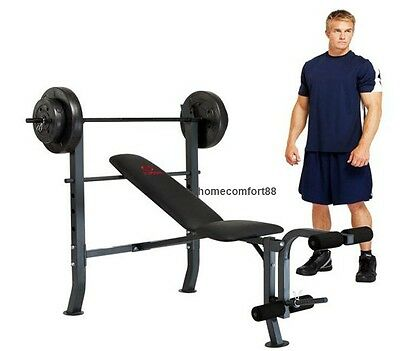 Weight Bench With Weight Bar Set and Weights Dumbbells Squat Press Curl Gym New