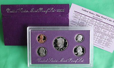 1993 United States Mint ANNUAL 5 Coin Proof Set Original Box & COA