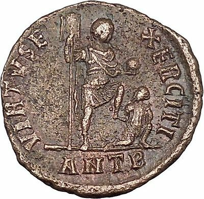 THEODOSIUS I  the Great w labarum  Big Ancient Roman Coin Chi-rho CHRIST i42379