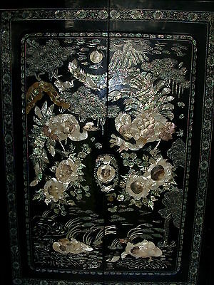 Stunning Vintage Black Lacquer w/ Mother of Pearl Embellished Wardrobe