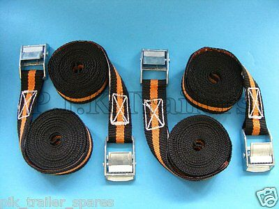 4 x Luggage Straps 2.5m with Quick Release Cam Buckle 250kg      #6072