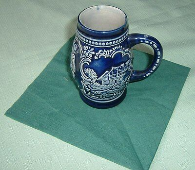 Old Blue Tankard - no name with to people/characters to the side face