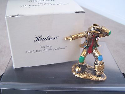 """FINE PEWTER COLLECTIBLE CLOWN """"BUCKET BRIGADE""""IN GOLDTONE # 2005 BY HUDSON CREEK"""