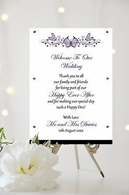 Wedding Welcome Thank you Message Sign Butterfly Personalised ALL COLOURS