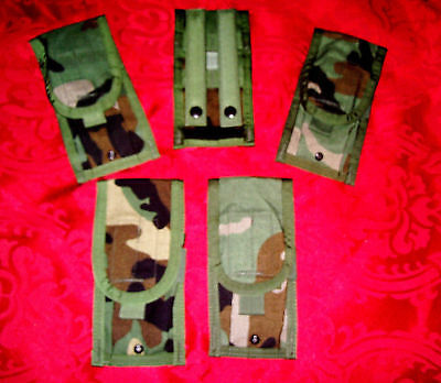 NEW Lot of 5 US ARMY MILITARY SURPLUS USMC Woodland Molle Double Mag Ammo Pouch