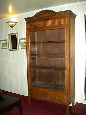 ANTIQUE CARVED SOLID TEAK WOOD WARDROBE CONVERTED TO BOOKCASE