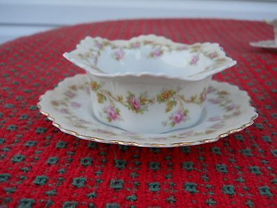 Antique MZ Austria Rare HTF Roses Drawn Butter Bowl With Underplate
