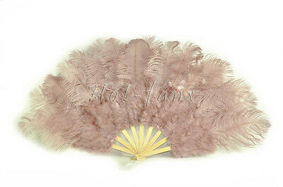 """primary Burlesque 21x 38"""" Beige Wood Marabou Ostrich Feather fan & carrying case"""