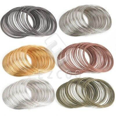 100 Loops 60mm Steel Bracelet Memory Wire Cuff Bangle Jewelry Making 6 color