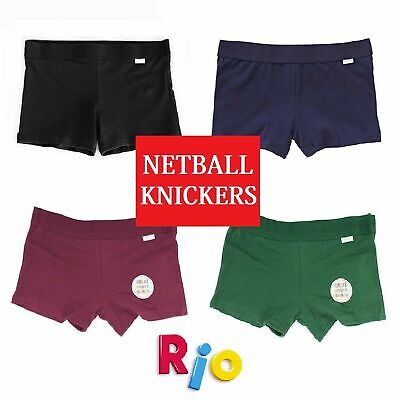 Girls Rio Netball Knickers Black Navy Green Shorts Underwear Kids School Sports