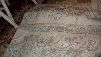 Tan pink and blue palest flowers floral design heavy upholstery fabric material