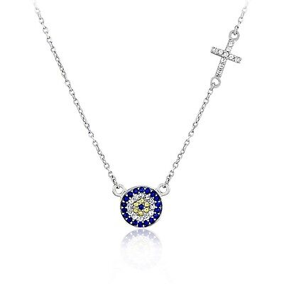 New Genuine Sterling Silver Rose Gold Plated Micro Pave Cz Circle Cross Necklace