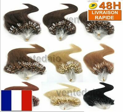 50 100 200 Extensions De Cheveux Pose A Froid Easy Loop Naturel Remy 53/60Cm Aaa
