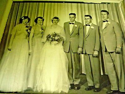 Vintage Wedding Party Picture- Large 10X8 -In Frame- Marshall Minn- 1950's