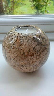"""BRITISH FOSSIL ~ BEAUTIFUL 3"""" FOSSILSTONE MARBLE SPHERE CANDLE /TEALIGHT HOLDER"""