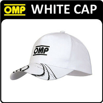 Pr907 Omp Racing Rally Fan White Sports Cotton Cap Lightweight With Velcro Strap
