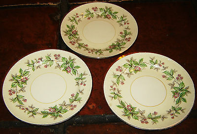 3 HOMER LAUGHLIN EGGSHELL GEORGIAN FLORAL FLOWERS MADE IN USA POTTERY PLATES