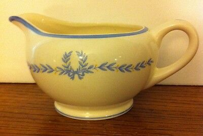 "W.S. George Derwood Ivory China ""Blue Laurels"" CREAMER GRAVY BOAT 1 Cup USA"