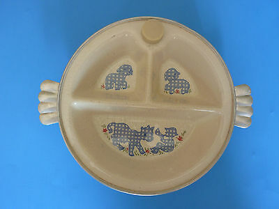 EXCELLO 1950 Vintage Baby Warming Dish Little Boy Blue Toddler Baby Butler Plate