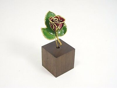 """3"""" 24k Gold Dipped Burgundy Rose in Walnut Stand (Free Anniversary Gift Box)"""