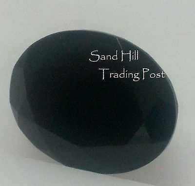 Natural 7x5 Loose Oval Cut .72ct Faceted Black Onyx AAA