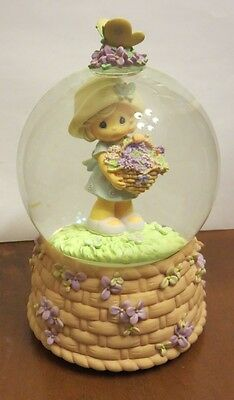 Precious Moments Girl w/ Flower Baskets Musical Snowglobe Vivaldi - The Spring