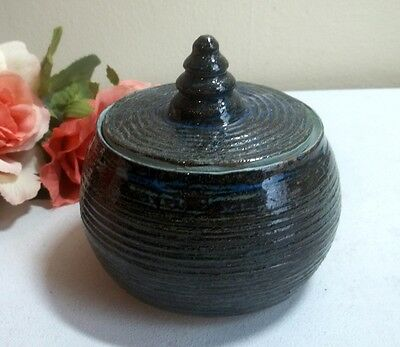 2003 signed studio pottery covered dish. Deep blue & brown tones.Contemporary