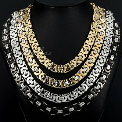 """18-36"""" MENS Stainless Steel 11mm Gold/Silver Flat Byzantine Link Chain Necklace"""