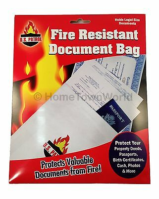 "Fire Resistant Safe Document Protection Bag 1000 degree Legal Size 10"" x 15"""