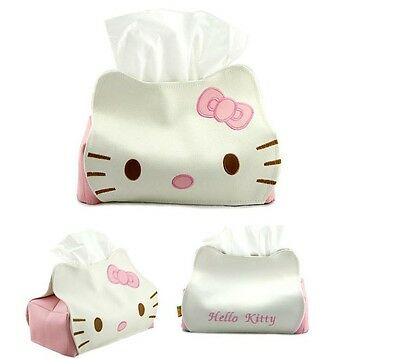 Cute Hello Kitty artificial PU leather Plush Tissue Paper Box Cover Holder NEW