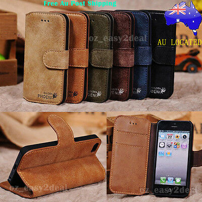 Leather Genuine Stand Case Cover Flip Wallet Samsung iPhone 4 5 5c 6 6s 7 7 plus