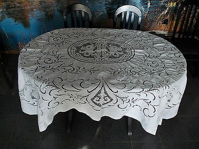 Stuning vintage tablecloth hand embroidered white cutwork