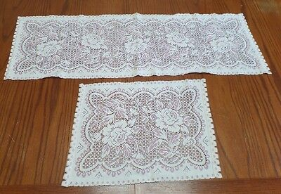 Pair Vintage Crocheted White Pink Lace Shabby Roses Chic Table Runner Doily Set