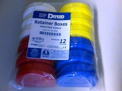 Oral Orthodontic Dental Defend Retainer Boxes Assorted Colors OB-2000 12 pack