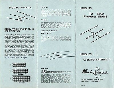 Mosley TA - Series Frequency BEAMS Brochure in Excellent Condition!