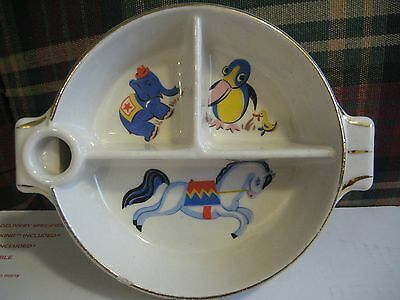 VINTAGE ANTIQUE CHILDREN'S DIVIDED DISH,1945,CIRCUS ANIMALS,HEAVY POTTERY,GLAZED