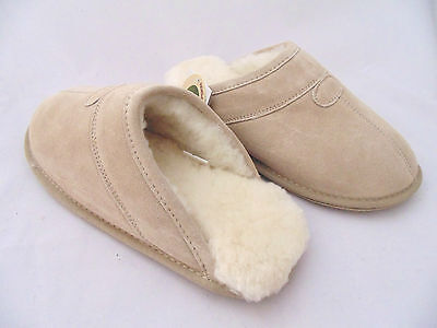 New Mens Premium Australian Sheepskin Ugg Slippers Scuffs lambskin 3 colors warm