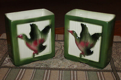VINTAGE SHAWNEE (USA) PAIR OF DUCK PLANTER VASES BOOKENDS Beautiful Set!! 1950's