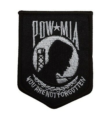 POW / MIA Black White Military Veteran Embroidered Small Patch War Biker