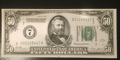 Reproduction $50 Bill Fifty Federal Reserve Note Chicago 1928 Ulysses Grant Copy