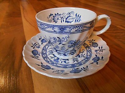 Old Vintage Cup Saucer Blue Fiord Ironstone Wood Sons England Old Staffordshire