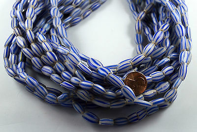 """Old Striped Large White & Blue MELON  VENETIAN GLASS African Trade Beads - 22"""""""