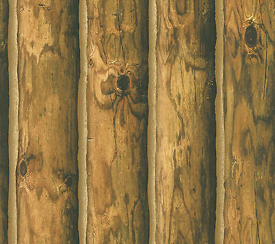 WALLPAPER BY THE YARD CH7980 Mountain Logs Cabin Lodge Wallpaper