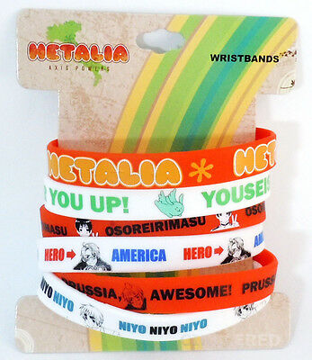 Hetalia Skinny PVC Wristband Set of 6 America Prussia England Japan Official